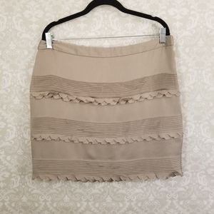Banana Republic Taupe Scalloped Mini Skirt